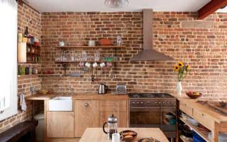 Дизайн кухни с кирпичной стеной; какой материал выбрать декоративный или натуральный
