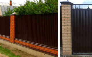 Как самостоятельно построить кирпичный забор с профнастилом